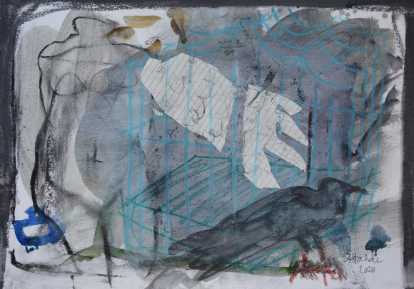Anoushka Havinden, Paper Winged, collage, graphite, charcoal, pastel and acrylic on watercolour paper, A3